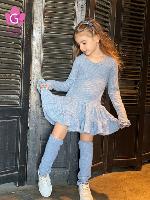 שמלת סריג (כחולה) עם חותלות