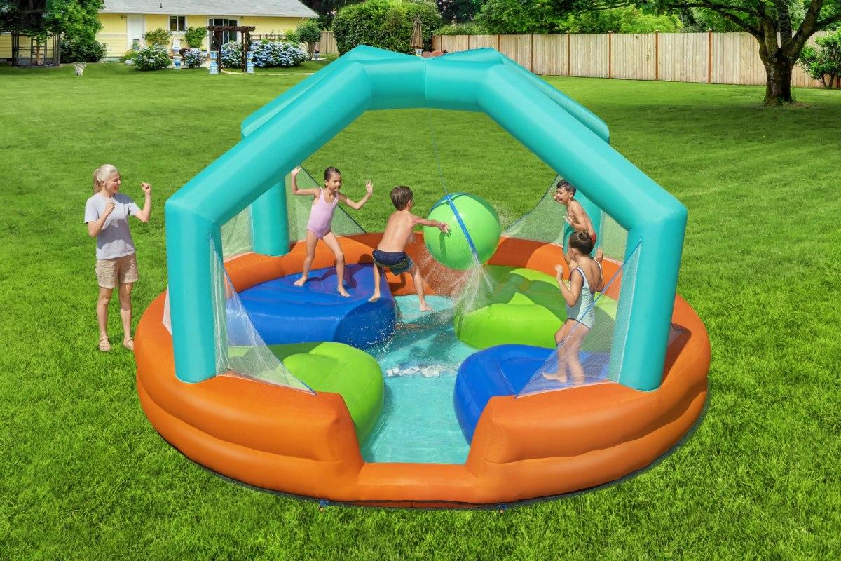 מתקן קפיצה מתנפח פארק מים הכדור החמקמק + מושבי קפיצה בסטוואיי BESTWAY 53383 - קפיץ קפוץ