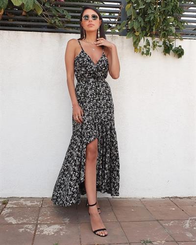 שמלת רוז - פרינט שחור