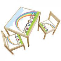3 יח' טפט דביק מותאם לשולחן וכסאות (LATT)-קשת בענן