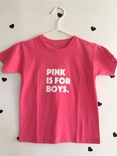 טי שירט לילדים ורודה עם הכיתוב pink is for boys