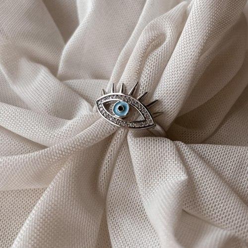 טבעת עין ריסים תכלת- כסף 925