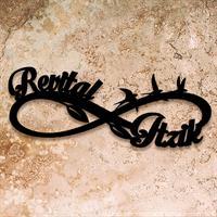 מדבקה לקיר | שמות מעוצבים בסמל האינסופיות בעיצוב אישי| משפטי השראה | מדבקות קיר משפטים | מדבקות