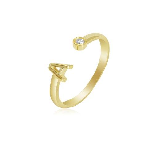 טבעת אות יהלומים פתוחה  טבעת יהלום פתוחה זהב