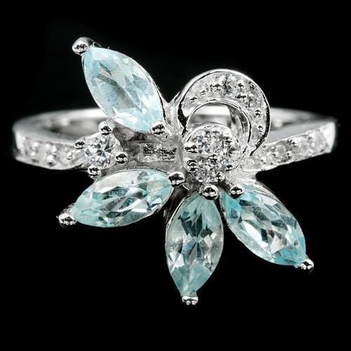 טבעת מכסף  משובצת אבני טופז כחולות וזרקונים RG8461 | תכשיטי כסף 925 | טבעות כסף