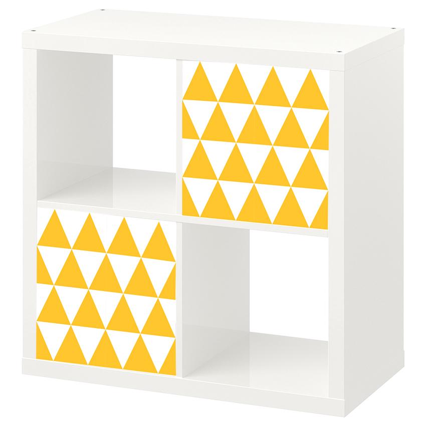 2 יח' טפט להדבקה על דלת כוורת (KALLAX)- משולשים צהובים