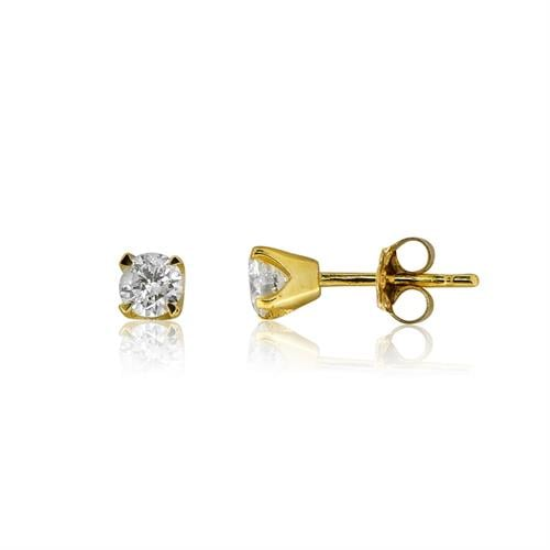עגילי זהב משובצים יהלומים 0.50 קראט