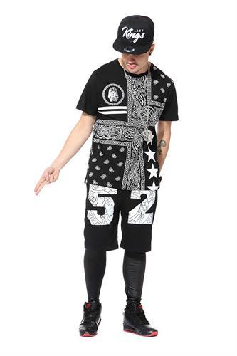 חולצת היפ הופ kingin קייצית אופנתית עם הדפסים