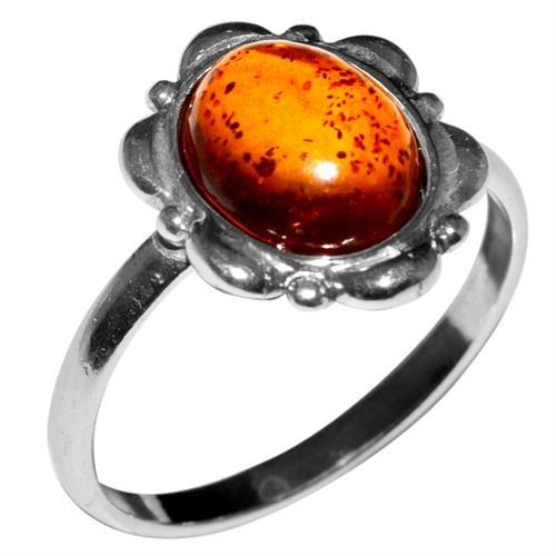 טבעת כסף משובצת ענבר RG7082 | תכשיטי כסף 925 | טבעות כסף