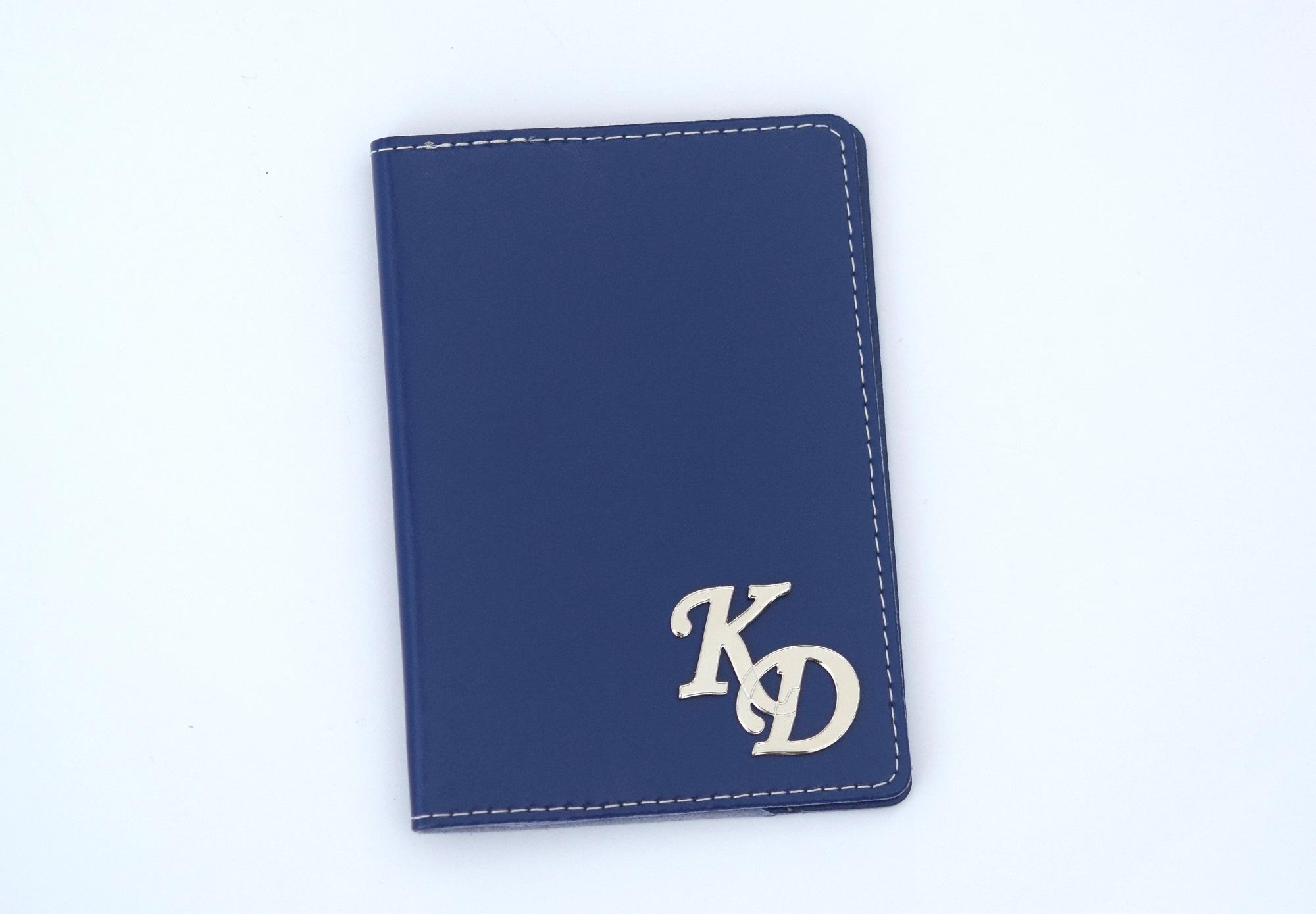 כיסוי עור לדרכון כחול נייבי