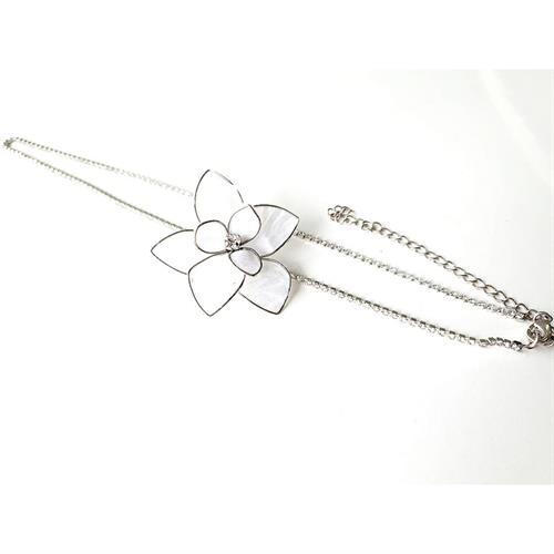 נזר מצח קריסטלים- פרח לבן