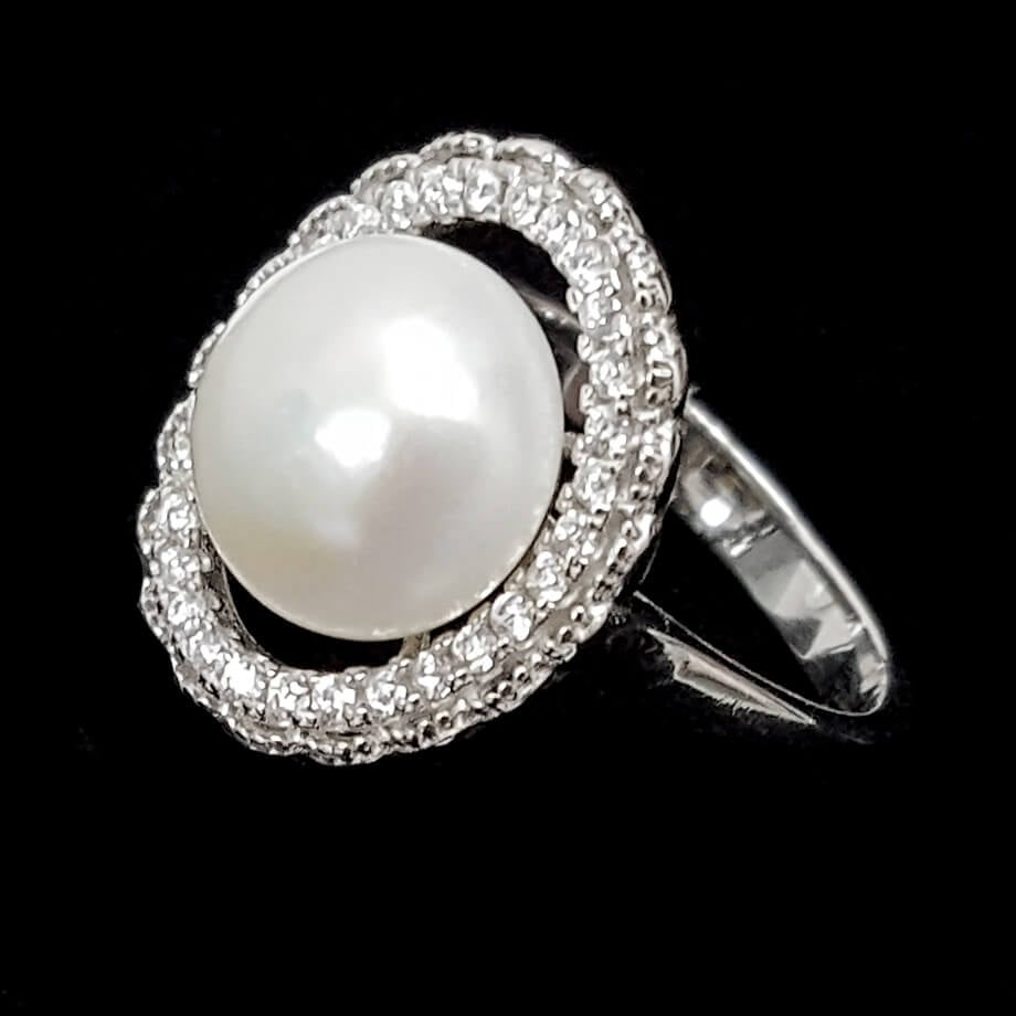 טבעת כסף משובצת פנינה לבנה וזרקונים RG1480 | תכשיטי כסף 925 | טבעות כסף