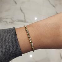 צמיד כדורים חריטת לייזר מזהב 14 קראט | צמיד זהב | כדורי זהב לנשים | צמיד יד לאישה | צמידי זהב לנשים