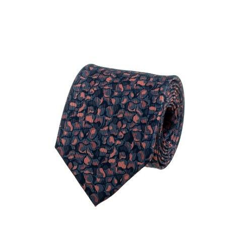 עניבה בהדפס כתמים במכחול כתום- אפור