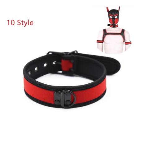 קולר לצוואר גבר בצבע שחור אדום BDSM