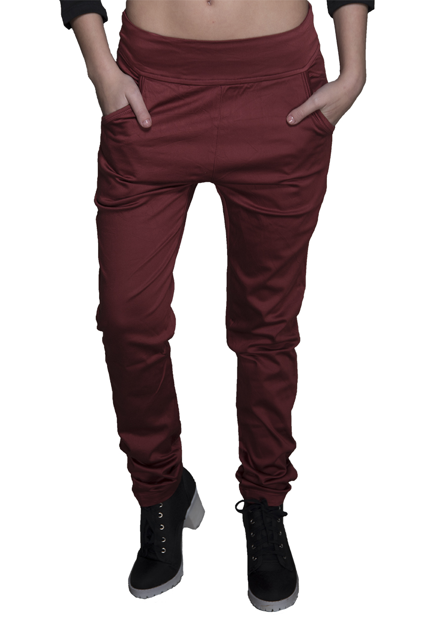 מכנס צמוד ללא רוכסן וללא כפתור בצבע ברונזה