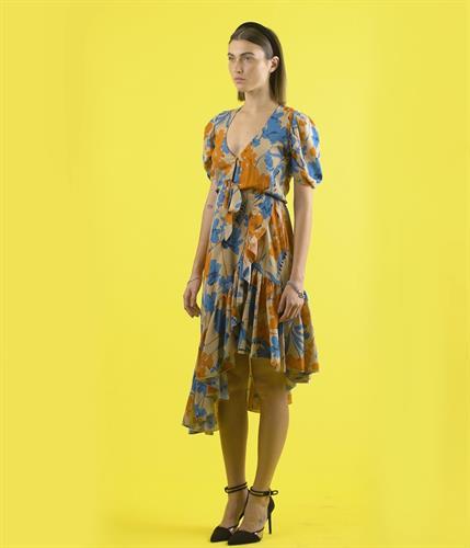 שמלת פרחים אסימטרית - תכלת כתום