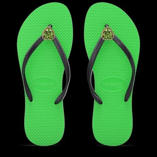 כפכפי לב גדול - ירוק/שחור GREEN/BLACK