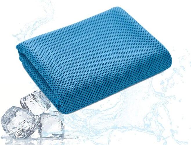 """מגבת ספורט מיקרופייבר גדולה 100x30ס""""מ  FIT CURCUIT- צבע כחול"""
