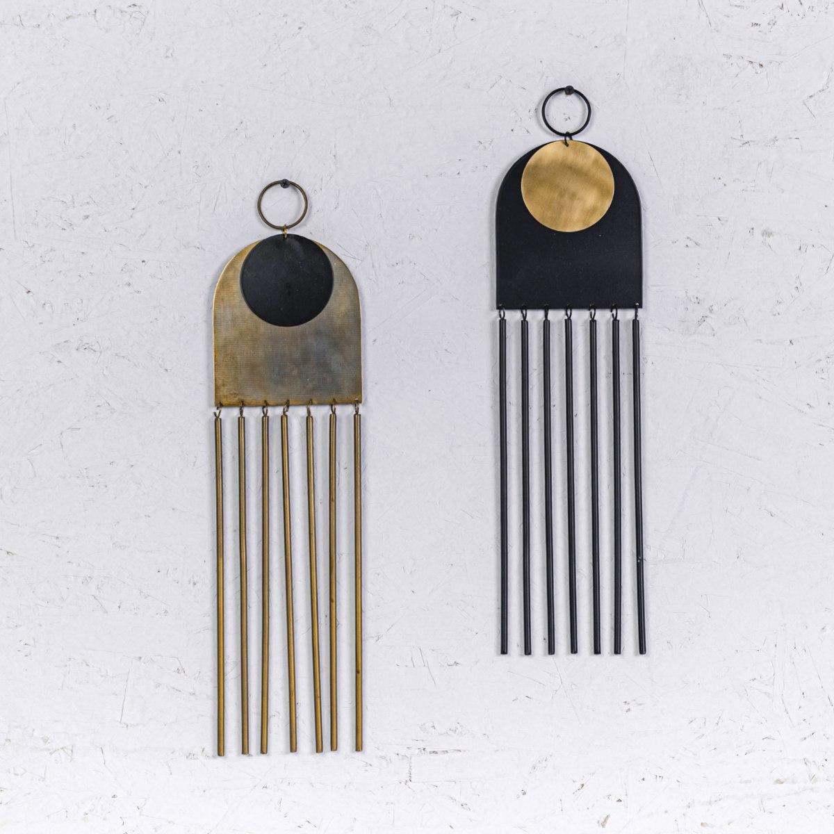 זוג קישוט מתכת לקיר - קשת וצינורות (זהב ושחור)