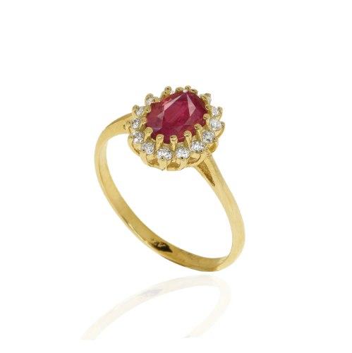 טבעת דיאנה אבן רובי  1 קראט ויהלומים 0.26 קראט בזהב 14 קרט │ טבעת עם רובי