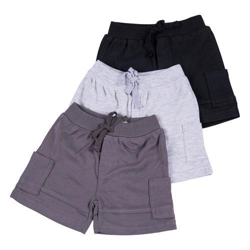 שלישיית מכנסיים 4459 שחור - אפור מלאנג' - אפור