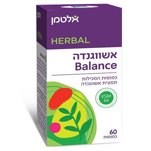 """אשווגנדה Balance, מכיל 60 כמוסות, 600 מ""""ג, אלטמן"""