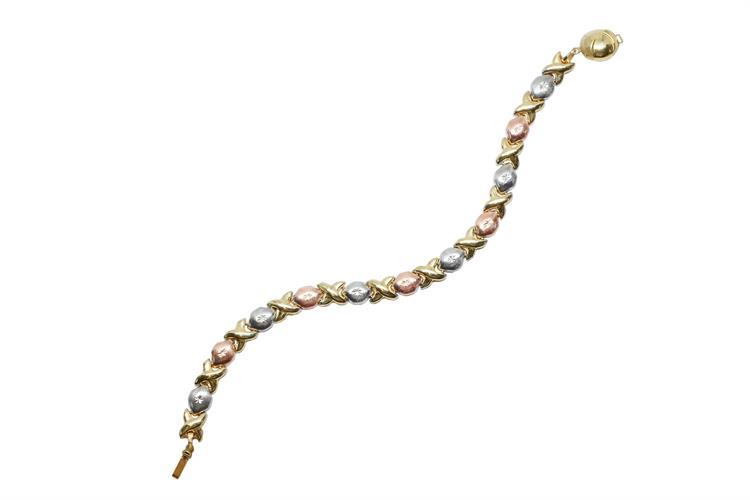 צמיד זהב קלאסי בשלושה צבעים זהב 14 קראט