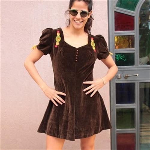 שמלת מיני וינטג' קטיפה חומה מכותנה מידה S