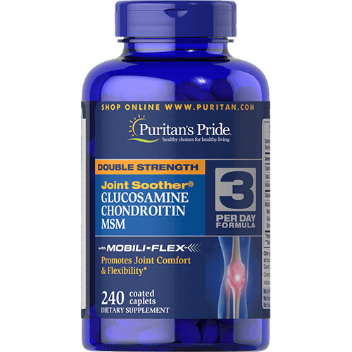 -- מובילי פלקס גלוקוזמין, כודרויטין ו MSM -- מכיל 240 טבליות, פיוריטנ'ס פרייד