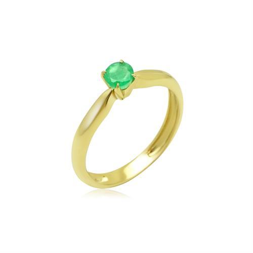 טבעת זהב משובצת אמרלד 0.25 קראט