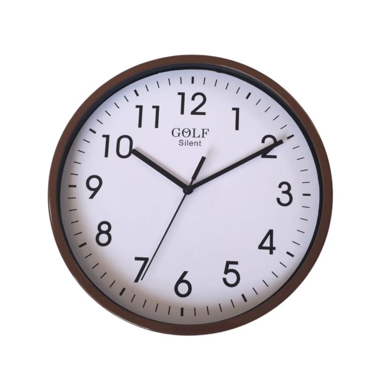 שעון קיר שקט גולף GOLF  חום