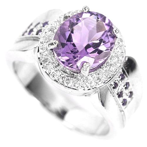 טבעת כסף משובצת אמטיסט סגול וזרקונים RG6211