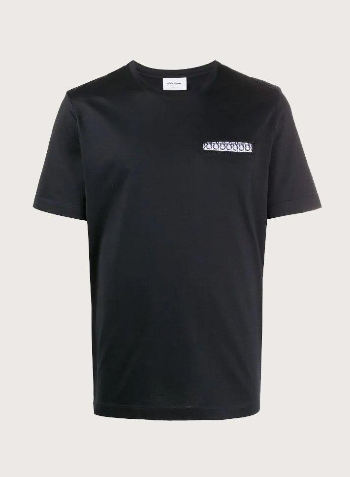 חולצה Salvatore Ferragamo לגברים  Short sleeves Tee-shrit NAVY OFF WHITE