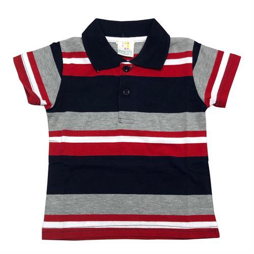 חולצת פולו פסים נייבי-אפור מלאנג'-אדום-לבן
