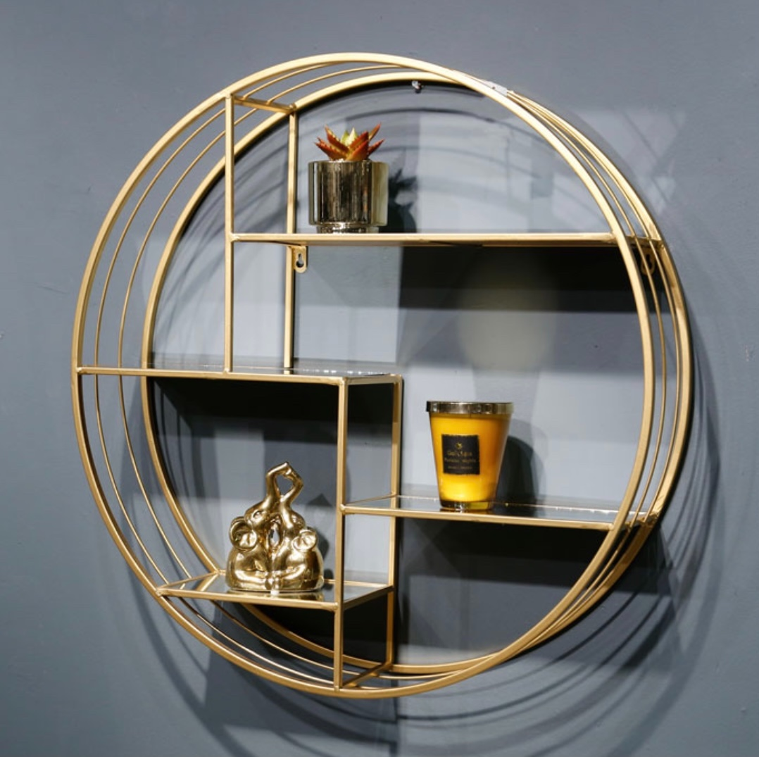 נישת מתכת עגולה זהב  מדפי זכוכית