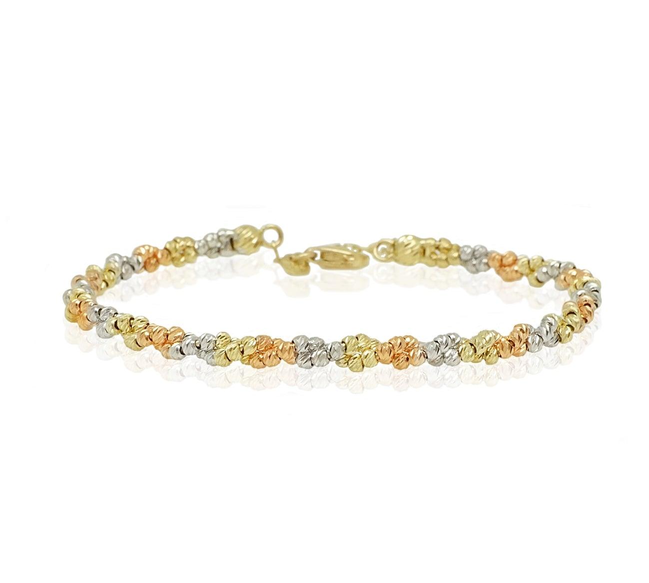 צמיד כדורים זהב בשלושה צבעים ורוד, צהוב ולבן  לאישה בנגל גמיש