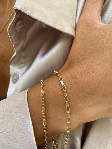 צמיד סטלה ריבועים גדולים זהב 14 קראט