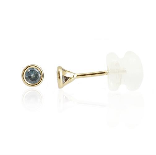 עגילי זהב עם אבן כחולה דגם באזל