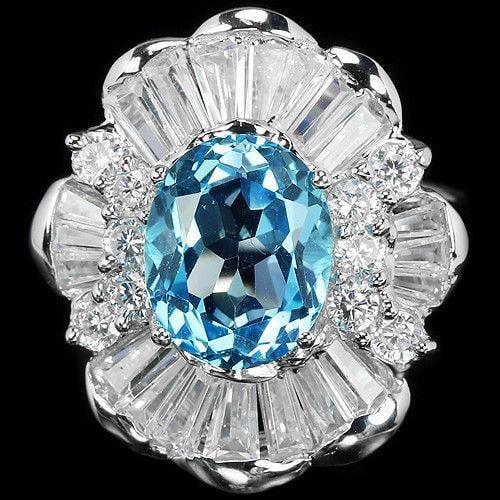 טבעת כסף משובצת טופז כחולה וזרקונים RG5630 | תכשיטי כסף 925 | טבעות כסף