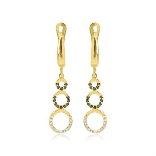 עגילי זהב נתלים עיגולי עם חצי יהלומים שחורים ולבנים