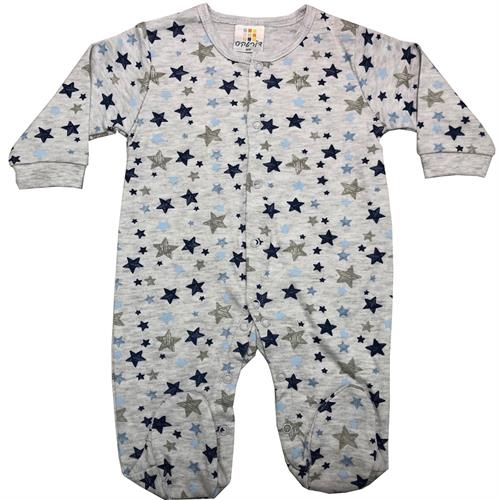 אוברול כותנה כוכבים צבעוניים אפור מלאנג'-כחול-תכלת