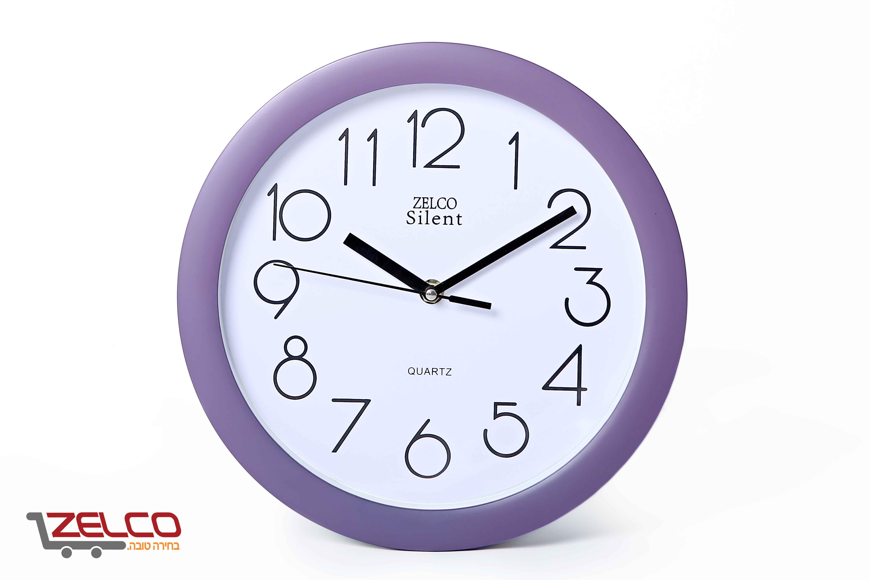 שעון קיר עגול צבע סגול
