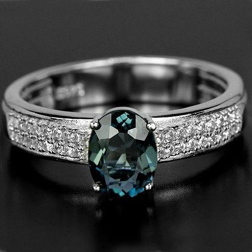 טבעת כסף משובצת טופז כחול וזרקונים RG5503 | תכשיטי כסף 925 | טבעת כסף