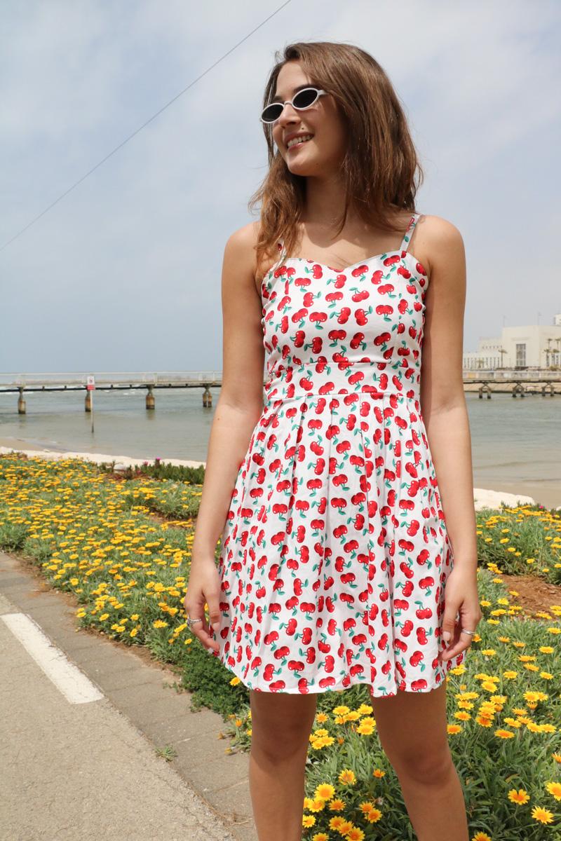שמלת שיר הדפס דובדבנים