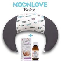 Boho MoonLove כרית הריון והנקה + שמן שקדים ללידה MommyCare