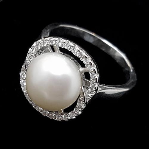 טבעת כסף משובצת פנינה לבנה וזרקונים RG5437 | תכשיטי כסף 925 | טבעות כסף