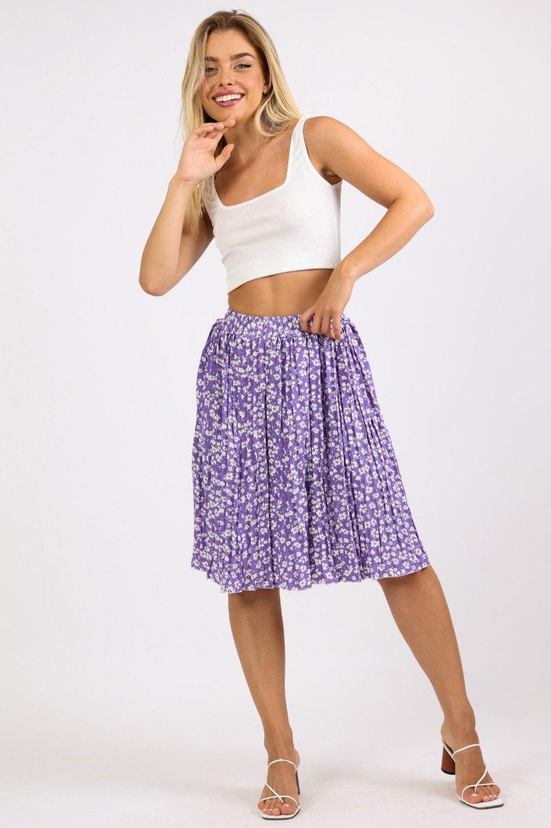 חצאית מידי נינה סגול פרחוני