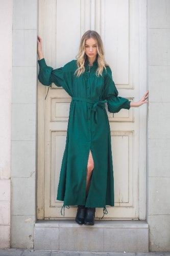 שמלת משי מקסי שילוב כיווץ ירוק