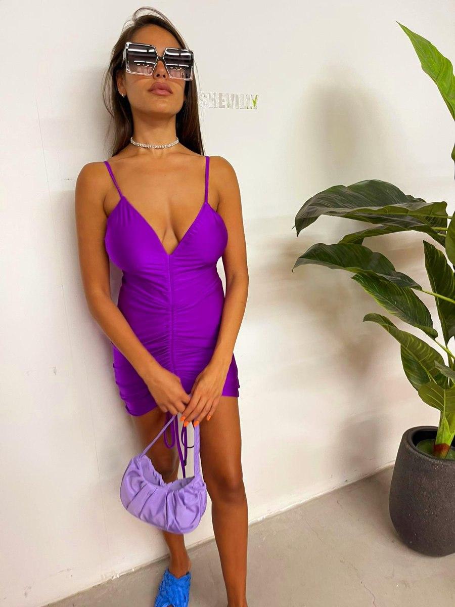 שמלת כיווצים סגולה NATALY SHEVULLY